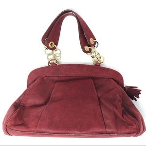 BRUNO MAGLI purse shoulder bag maroon red rings